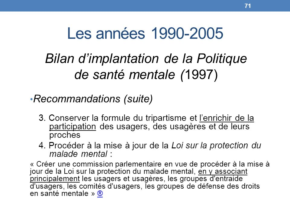 Bilan d'implantation de la Politique