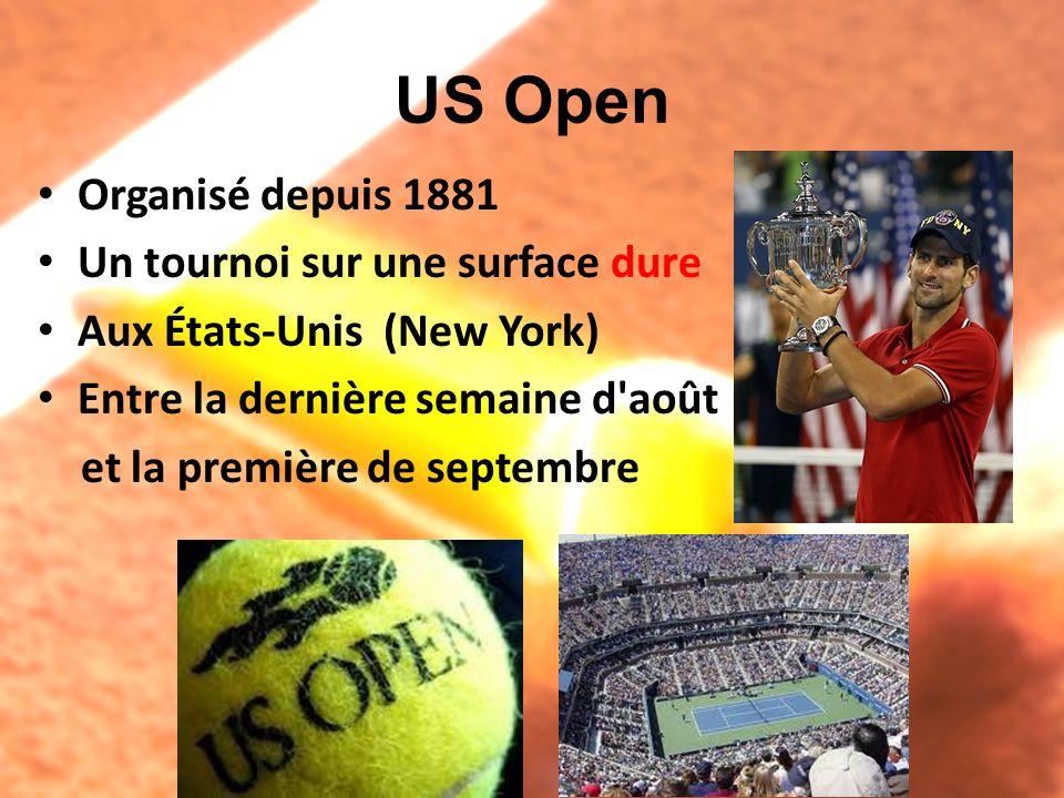 US Open Organisé depuis 1881 Un tournoi sur une surface dure