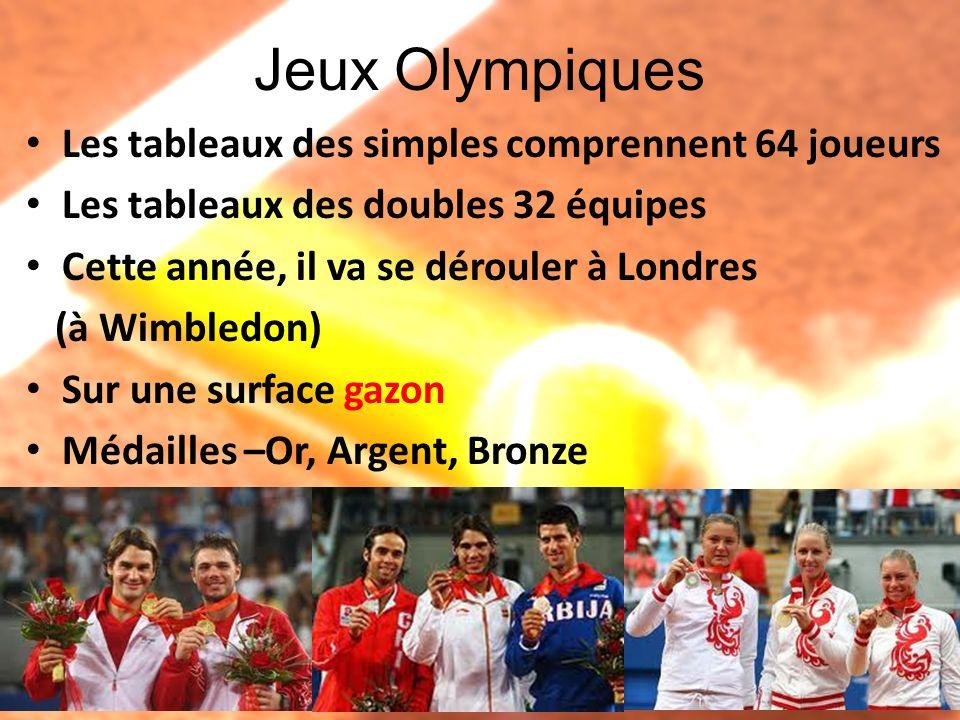Jeux Olympiques Les tableaux des simples comprennent 64 joueurs