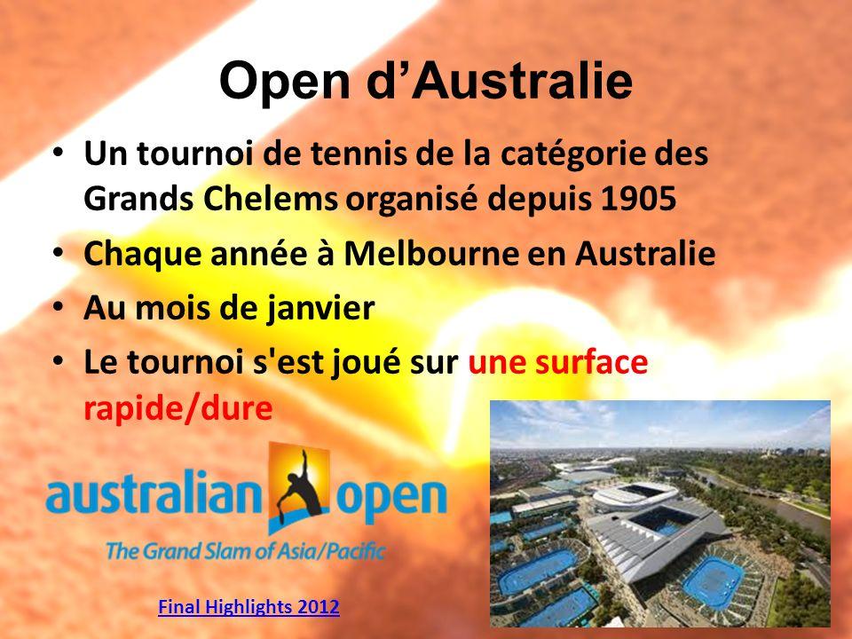 Open d'Australie Un tournoi de tennis de la catégorie des Grands Chelems organisé depuis 1905. Chaque année à Melbourne en Australie.