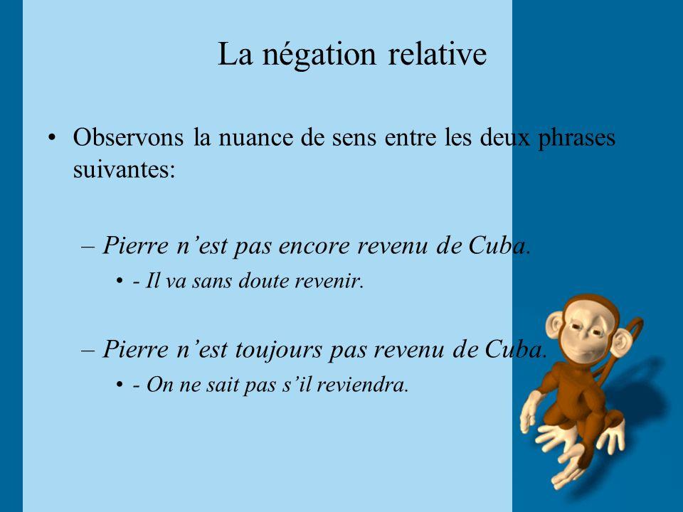 La négation relative Observons la nuance de sens entre les deux phrases suivantes: Pierre n'est pas encore revenu de Cuba.