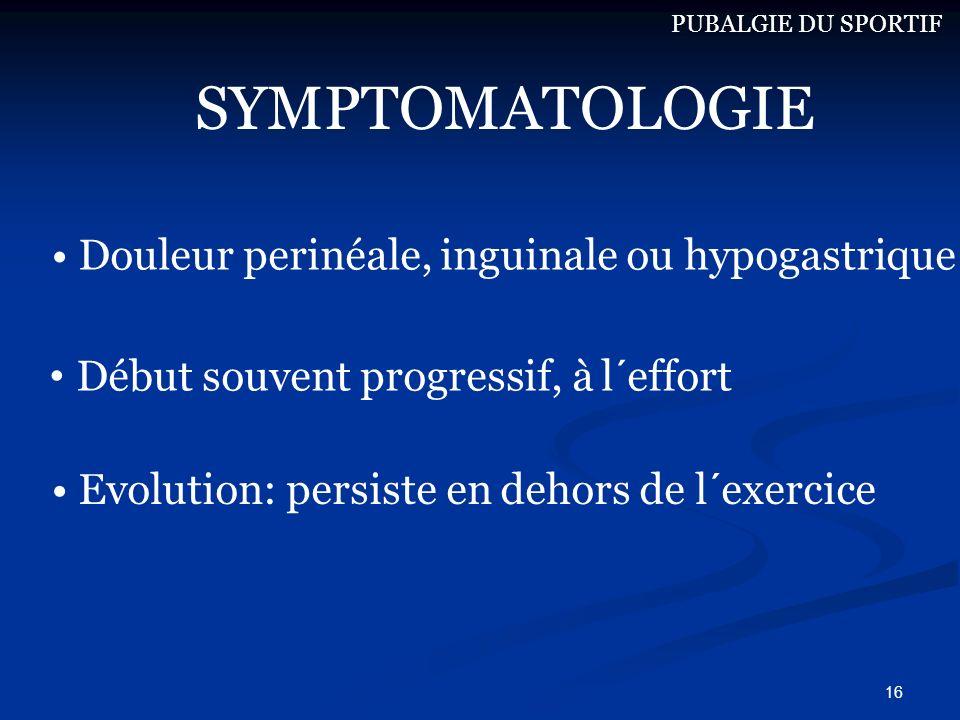 SYMPTOMATOLOGIE Douleur perinéale, inguinale ou hypogastrique