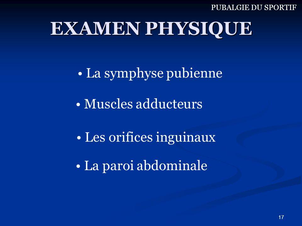 EXAMEN PHYSIQUE La symphyse pubienne Muscles adducteurs