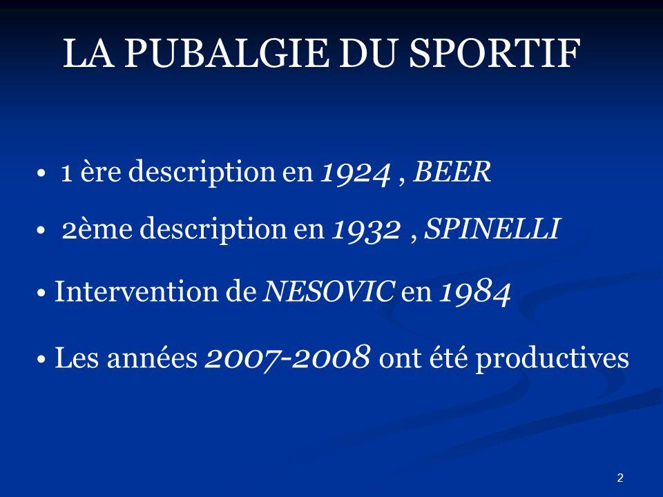 LA PUBALGIE DU SPORTIF 1 ère description en 1924 , BEER