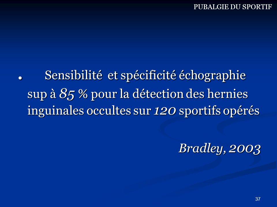 PUBALGIE DU SPORTIF . Sensibilité et spécificité échographie sup à 85 % pour la détection des hernies inguinales occultes sur 120 sportifs opérés.