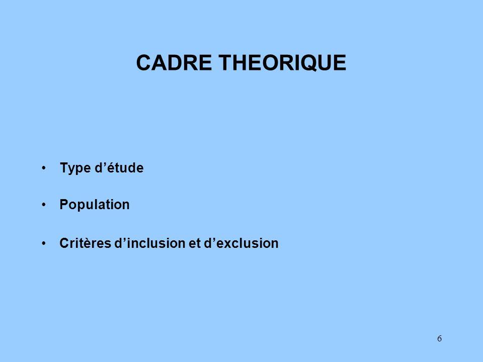 CADRE THEORIQUE Type d'étude Population