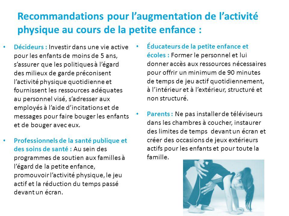 Recommandations pour l'augmentation de l'activité physique au cours de la petite enfance :