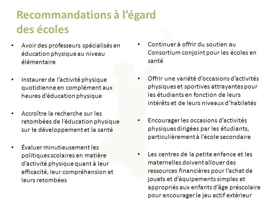 Recommandations à l'égard des écoles