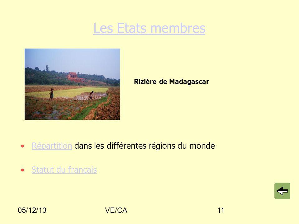 Les Etats membres Répartition dans les différentes régions du monde