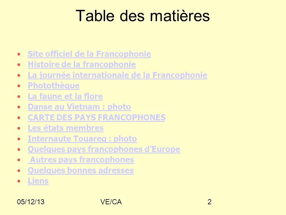 Table des matières Site officiel de la Francophonie