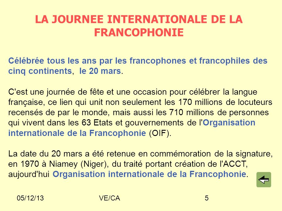 LA JOURNEE INTERNATIONALE DE LA FRANCOPHONIE
