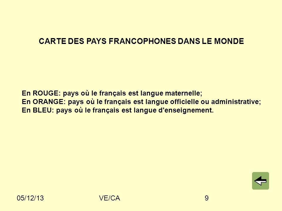 CARTE DES PAYS FRANCOPHONES DANS LE MONDE
