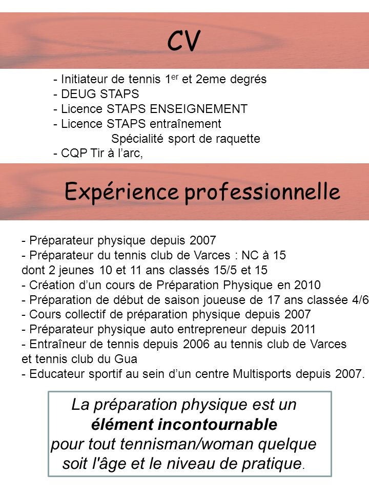 CV Expérience professionnelle