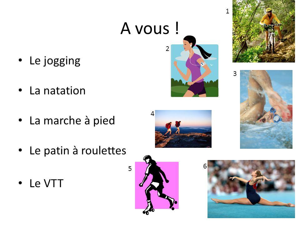A vous ! Le jogging La natation La marche à pied Le patin à roulettes