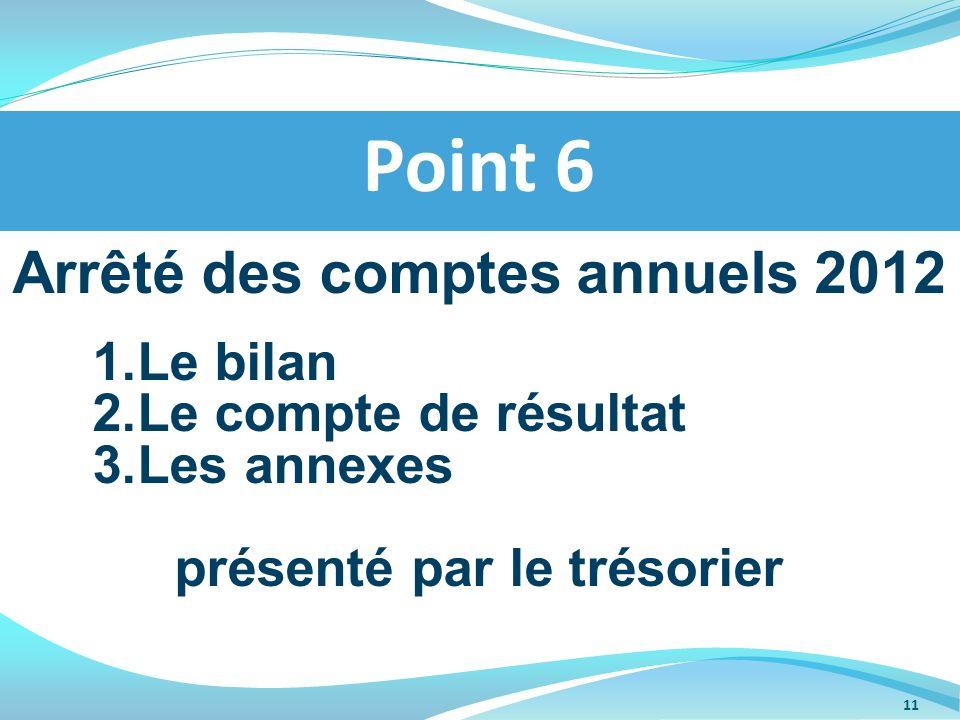 Arrêté des comptes annuels 2012 présenté par le trésorier