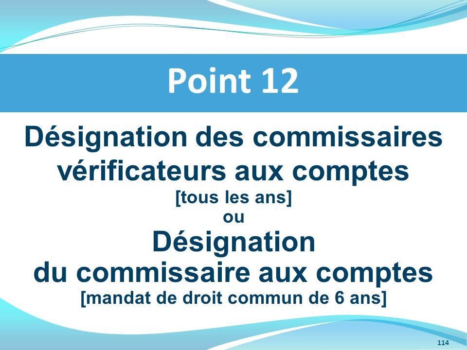Point 12 Désignation des commissaires vérificateurs aux comptes