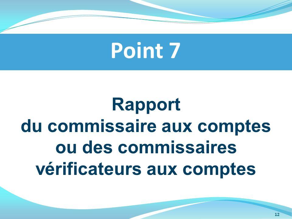 Point 7 Rapport du commissaire aux comptes