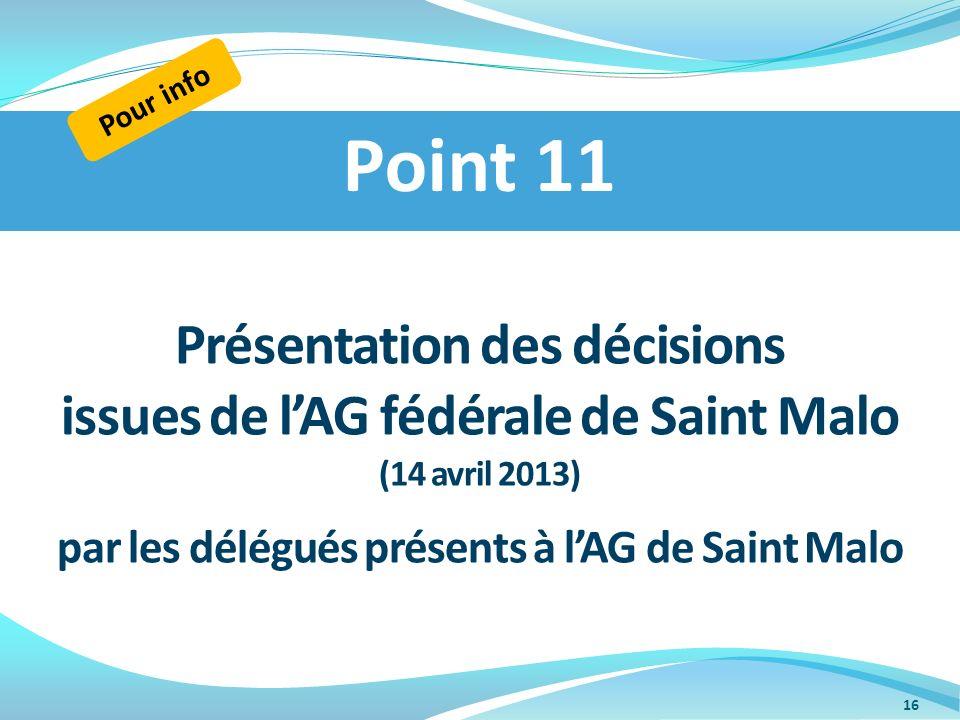 Point 11 Présentation des décisions