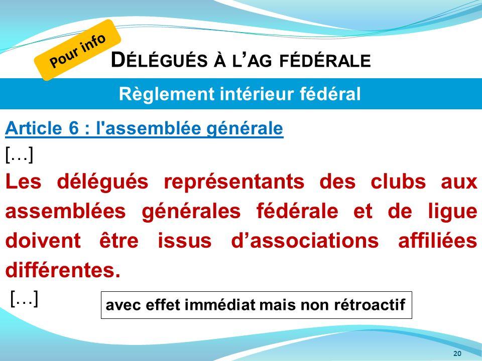 Délégués à l'ag fédérale