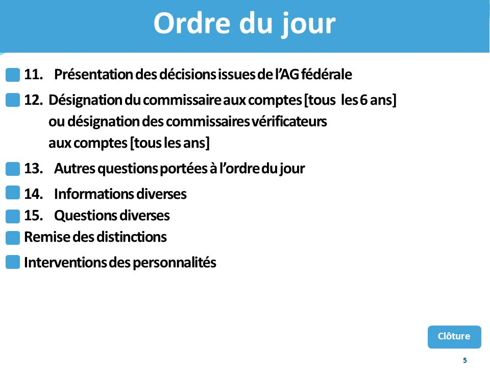 Ordre du jour 11. Présentation des décisions issues de l'AG fédérale