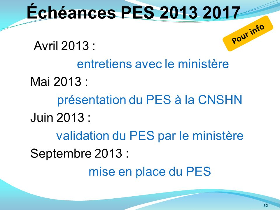 Échéances PES 2013 2017 entretiens avec le ministère Mai 2013 :