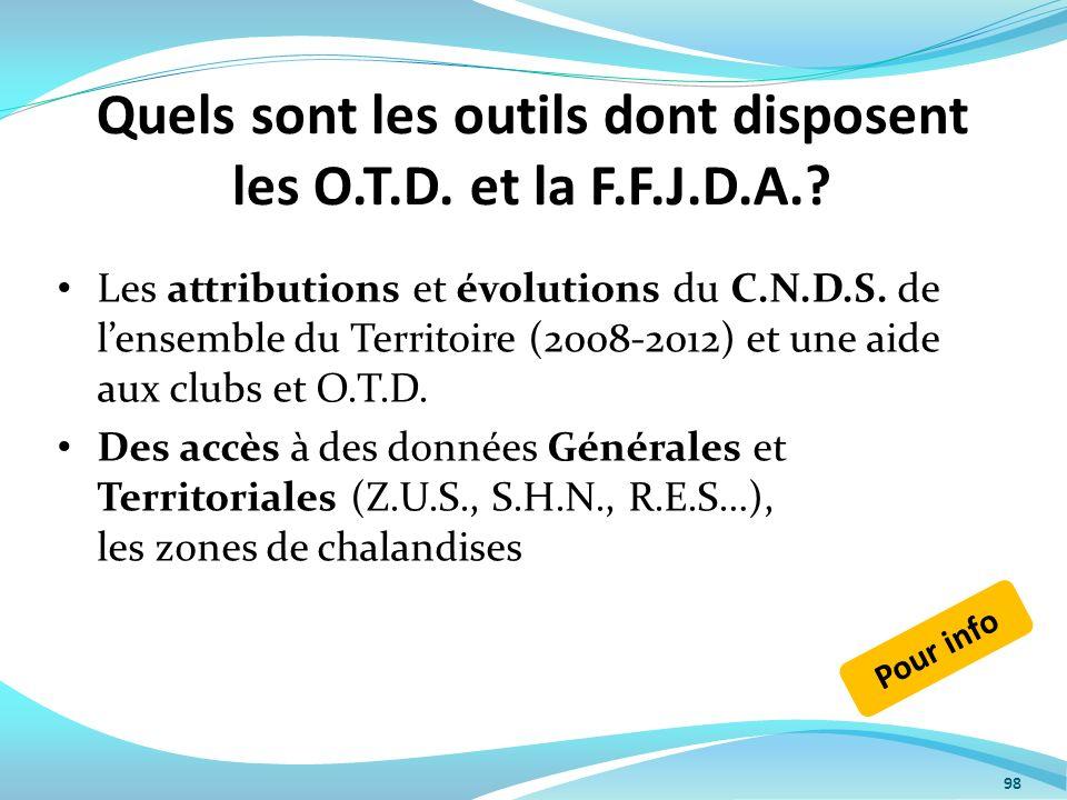 Quels sont les outils dont disposent les O.T.D. et la F.F.J.D.A.