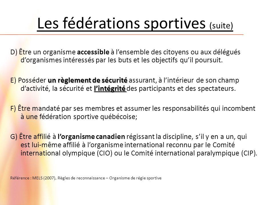 Les fédérations sportives (suite)