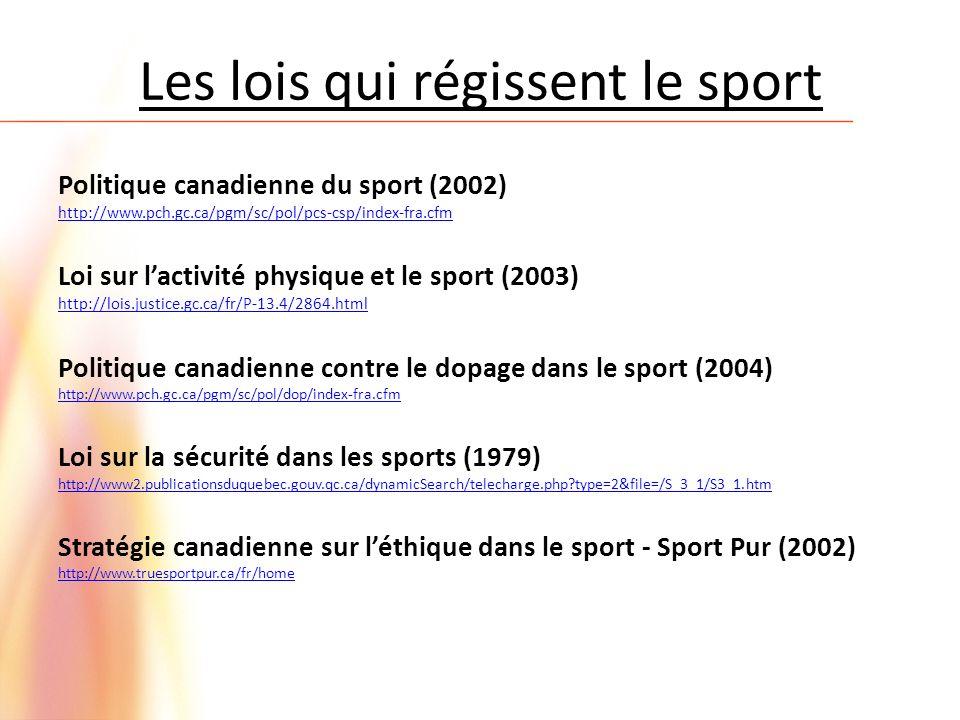 Les lois qui régissent le sport