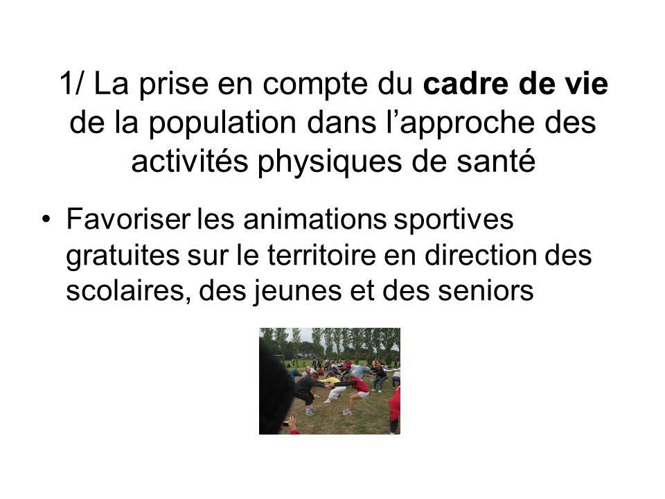 1/ La prise en compte du cadre de vie de la population dans l'approche des activités physiques de santé