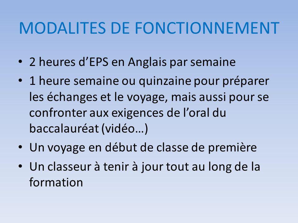 MODALITES DE FONCTIONNEMENT