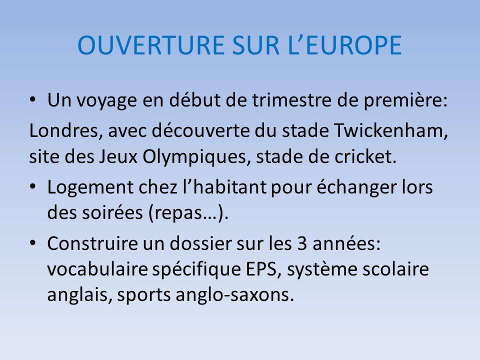 OUVERTURE SUR L'EUROPE