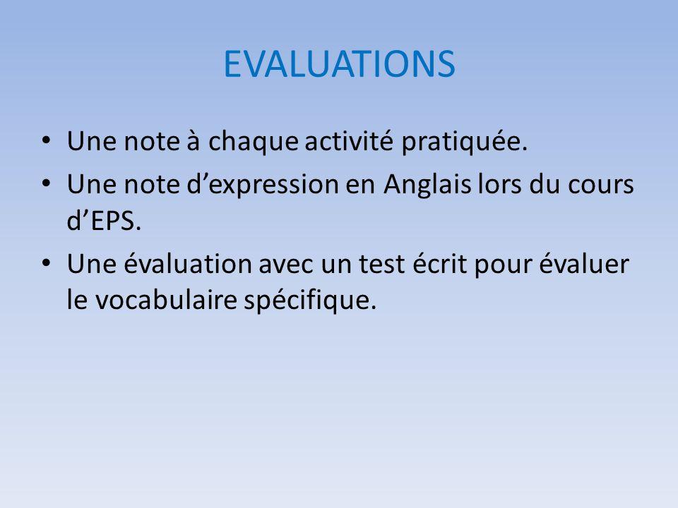 EVALUATIONS Une note à chaque activité pratiquée.