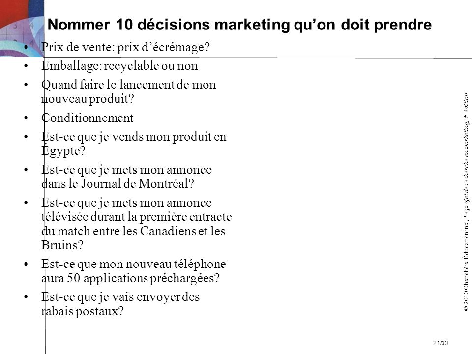 Nommer 10 décisions marketing qu'on doit prendre