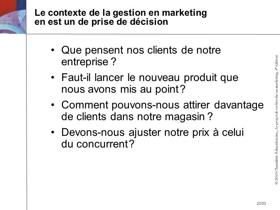Le contexte de la gestion en marketing en est un de prise de décision