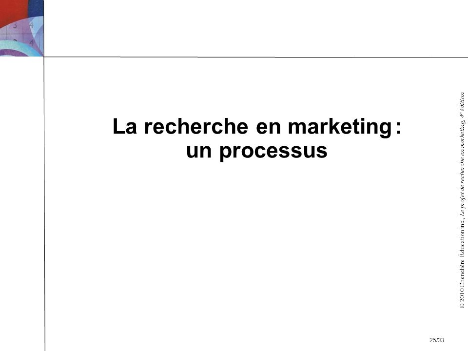 La recherche en marketing : un processus