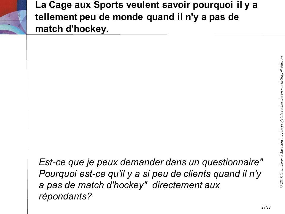 La Cage aux Sports veulent savoir pourquoi il y a tellement peu de monde quand il n y a pas de match d hockey.