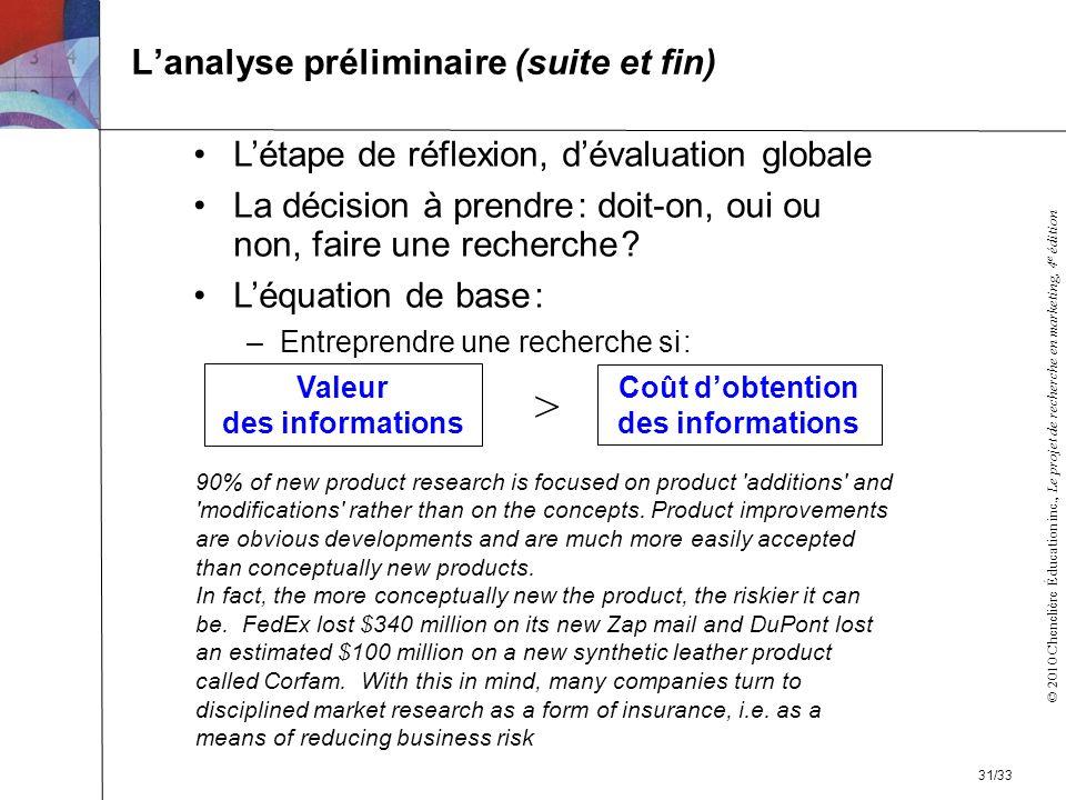 L'analyse préliminaire (suite et fin)