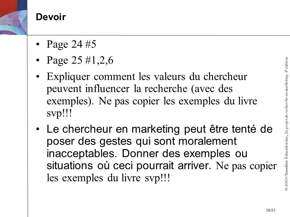 Devoir Page 24 #5. Page 25 #1,2,6.