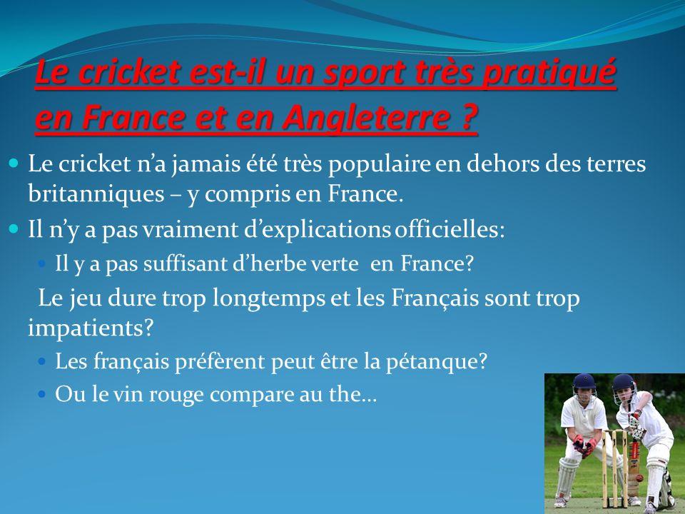 Le cricket est-il un sport très pratiqué en France et en Angleterre