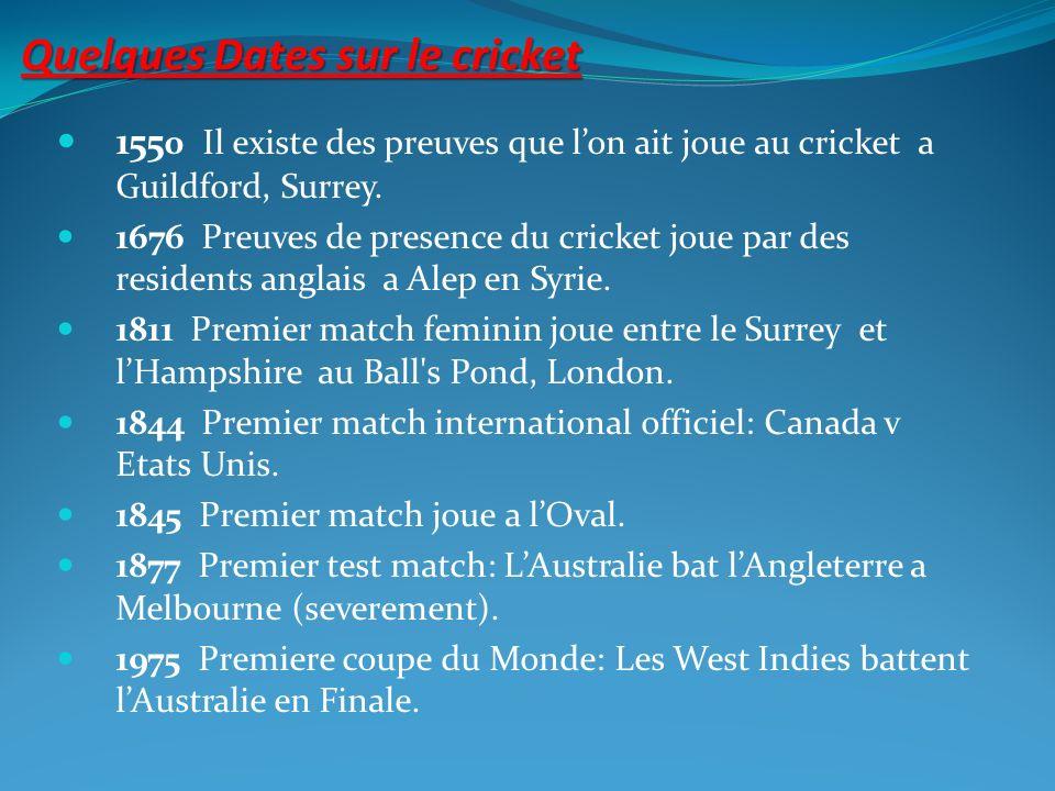 Quelques Dates sur le cricket