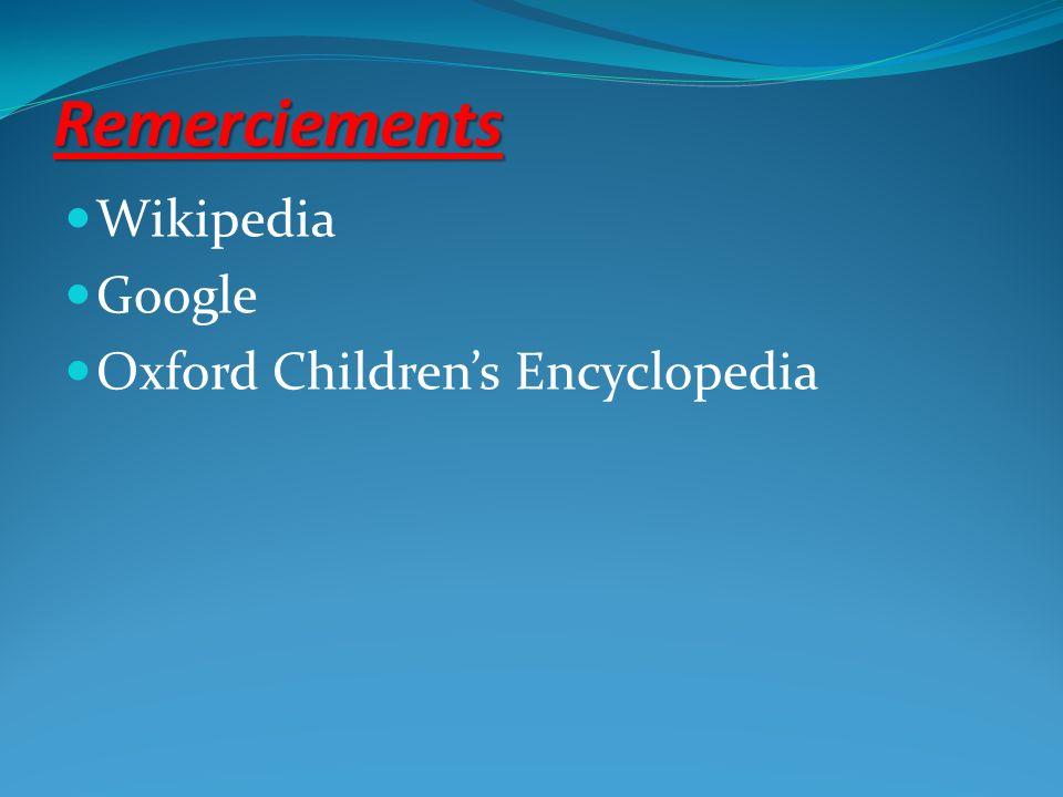 Remerciements Wikipedia Google Oxford Children's Encyclopedia