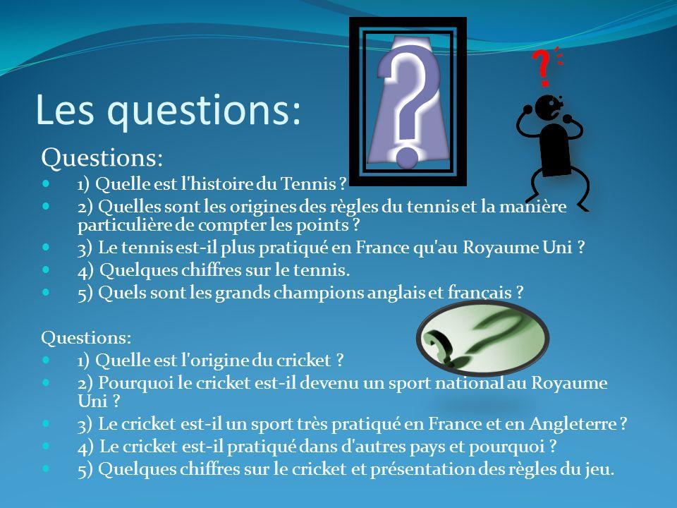Les questions: Questions: 1) Quelle est l histoire du Tennis