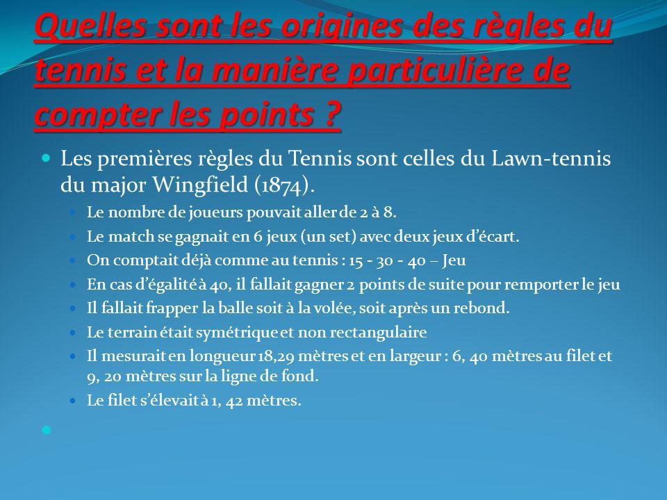 Quelles sont les origines des règles du tennis et la manière particulière de compter les points