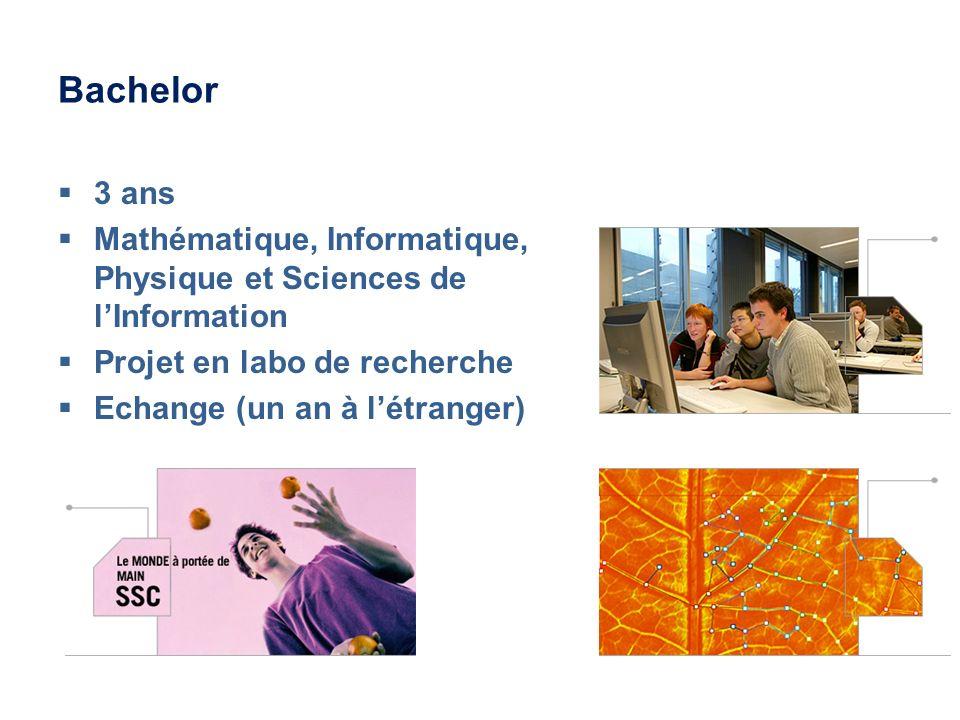 Bachelor 3 ans. Mathématique, Informatique, Physique et Sciences de l'Information. Projet en labo de recherche.