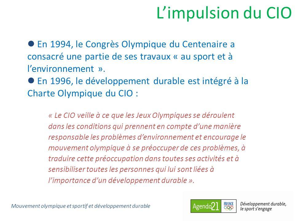 L'impulsion du CIO En 1994, le Congrès Olympique du Centenaire a consacré une partie de ses travaux « au sport et à l'environnement ».
