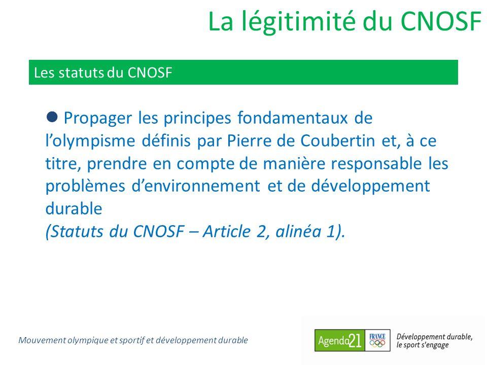La légitimité du CNOSF Les statuts du CNOSF.