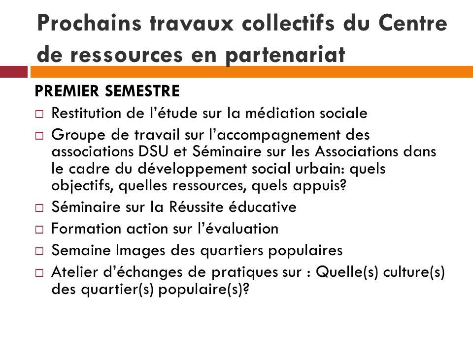 Prochains travaux collectifs du Centre de ressources en partenariat