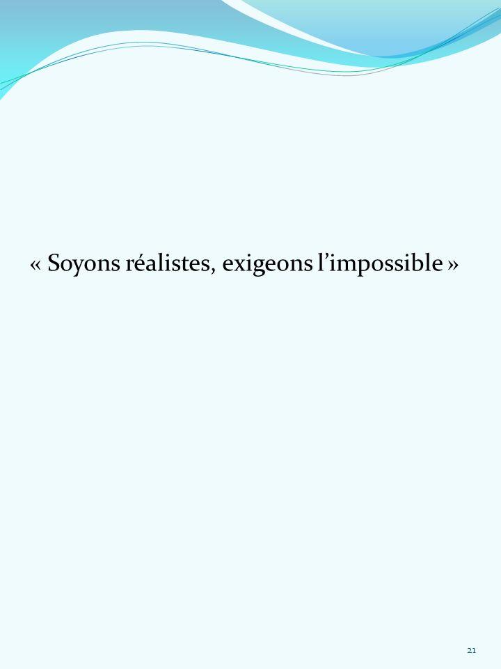 « Soyons réalistes, exigeons l'impossible »