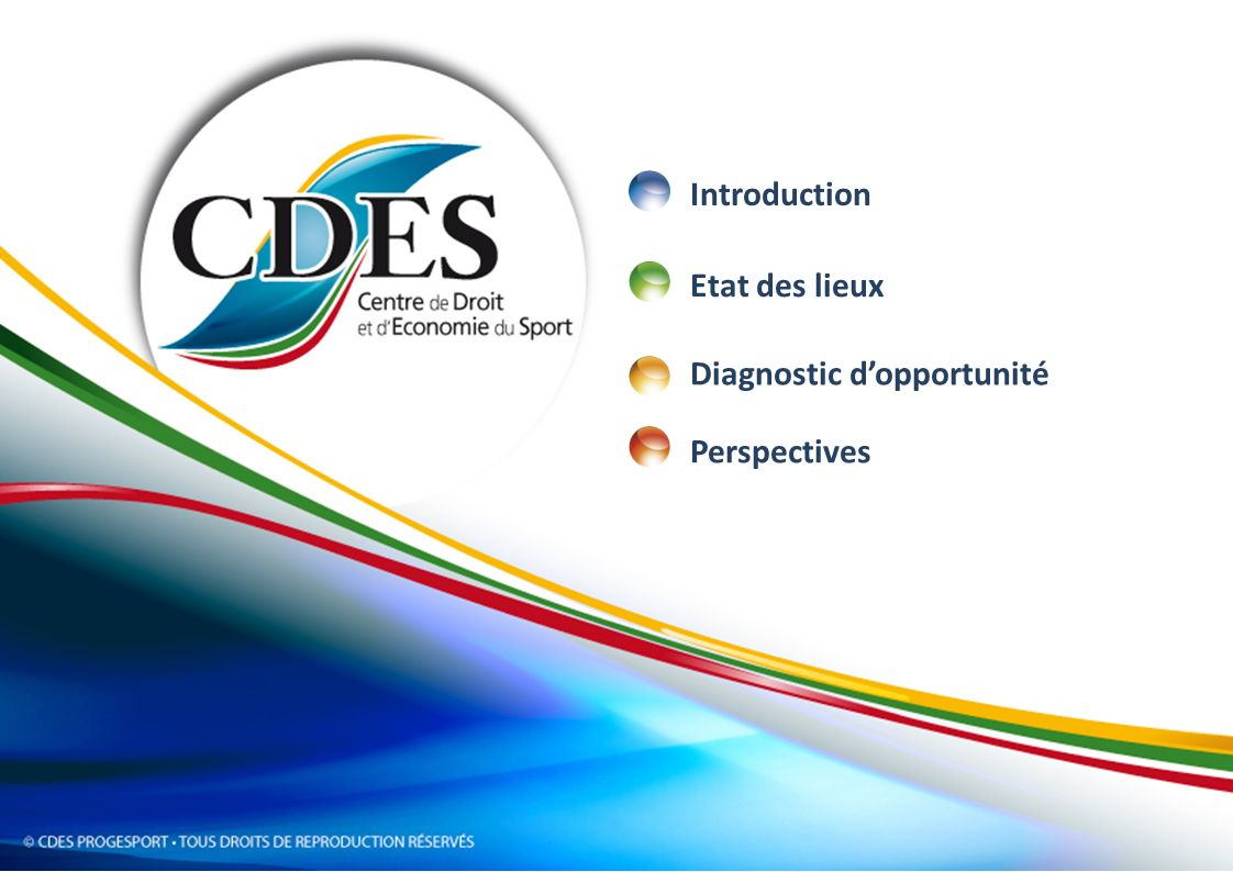 Introduction Etat des lieux Diagnostic d'opportunité Perspectives