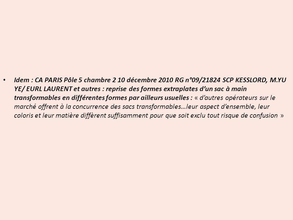 Idem : CA PARIS Pôle 5 chambre 2 10 décembre 2010 RG n°09/21824 SCP KESSLORD, M.YU YE/ EURL LAURENT et autres : reprise des formes extraplates d'un sac à main transformables en différentes formes par ailleurs usuelles : « d'autres opérateurs sur le marché offrent à la concurrence des sacs transformables…leur aspect d'ensemble, leur coloris et leur matière diffèrent suffisamment pour que soit exclu tout risque de confusion »